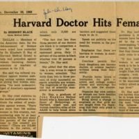 """Harvard Doctor Hits Female Discrimination,"" The Boston Globe"