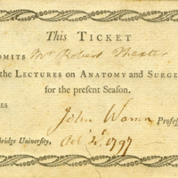 Admission ticket to the lectures on anatomy and surgery &lt;br /&gt;<br /> for Robert Thaxter