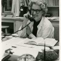 Elizabeth D. Hay with phone