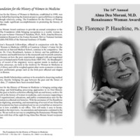 Program for the Alma Dea Morani Award ceremony for Florence Haseltine