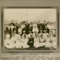 Photograph of the Halifax Y.M.C.A. Emergency Hospital staff