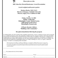 Flyer for the Alma Dea Morani Award ceremony for Barbara Barlow
