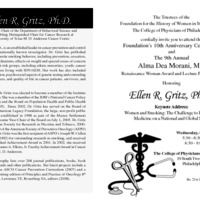 Invitation for the Alma Dea Morani Award ceremony for Ellen Gritz