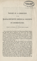 Report of a Committee of the Massachusetts Medical Society on Homœopathy