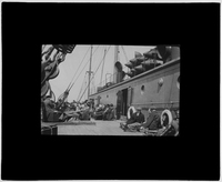 Passengers rest on the deck