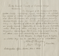 Letter from the Massachusetts Colonization Society to the Medical Faculty of Harvard College