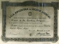 Diploma for Carola Eisenberg from Liga Argentina de higiene Mental
