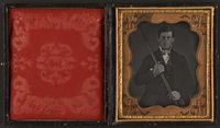 Sixth plate cased daguerreotype of Phineas Gage (1823-1860), 1850-1860