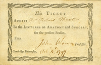 Admission ticket to the lectures on anatomy and surgery <br /><br />
