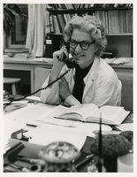 Elizabeth D. Hay with phone